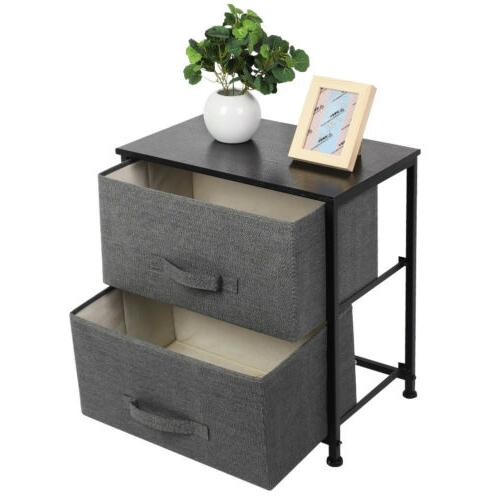 Sofa Bed End Table Nightstand Room 2/3 Fabric Drawer US