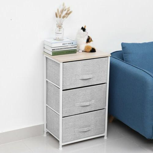 Sofa Side Table Accent Nightstand Room Drawer US