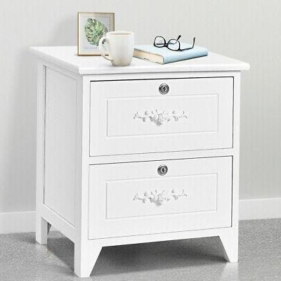Solid Wood w Drawer End Table Bedside Home