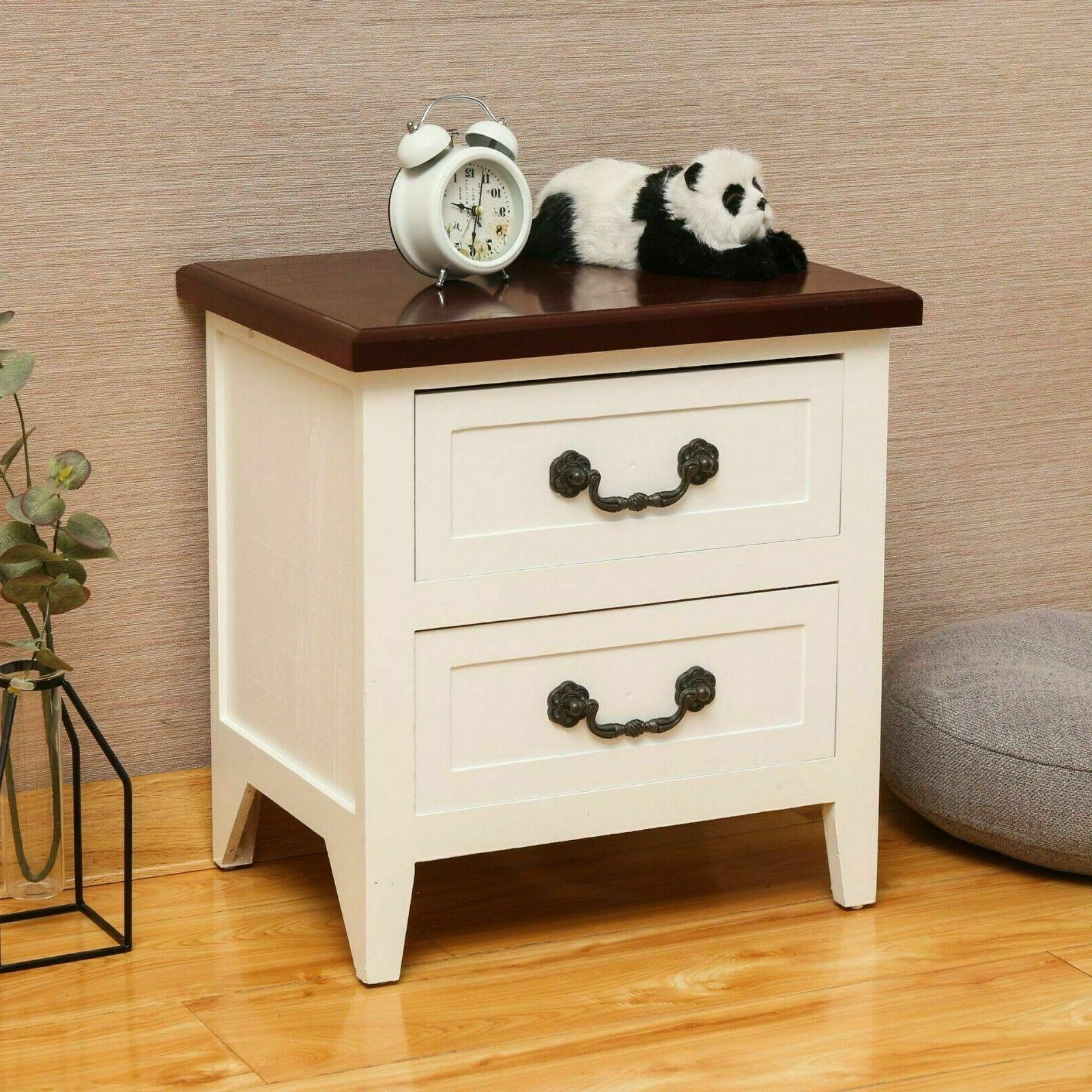 Solid Wood Set of 2 Coffee Wood Tables Nightstand Organizer