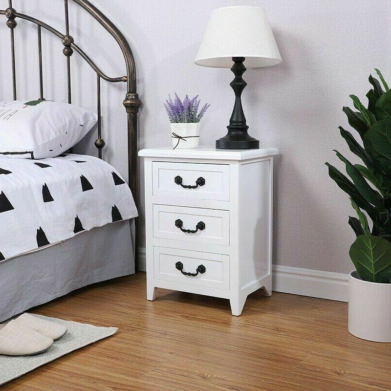 Solid Set of 2 Stand End Side Bedside Table