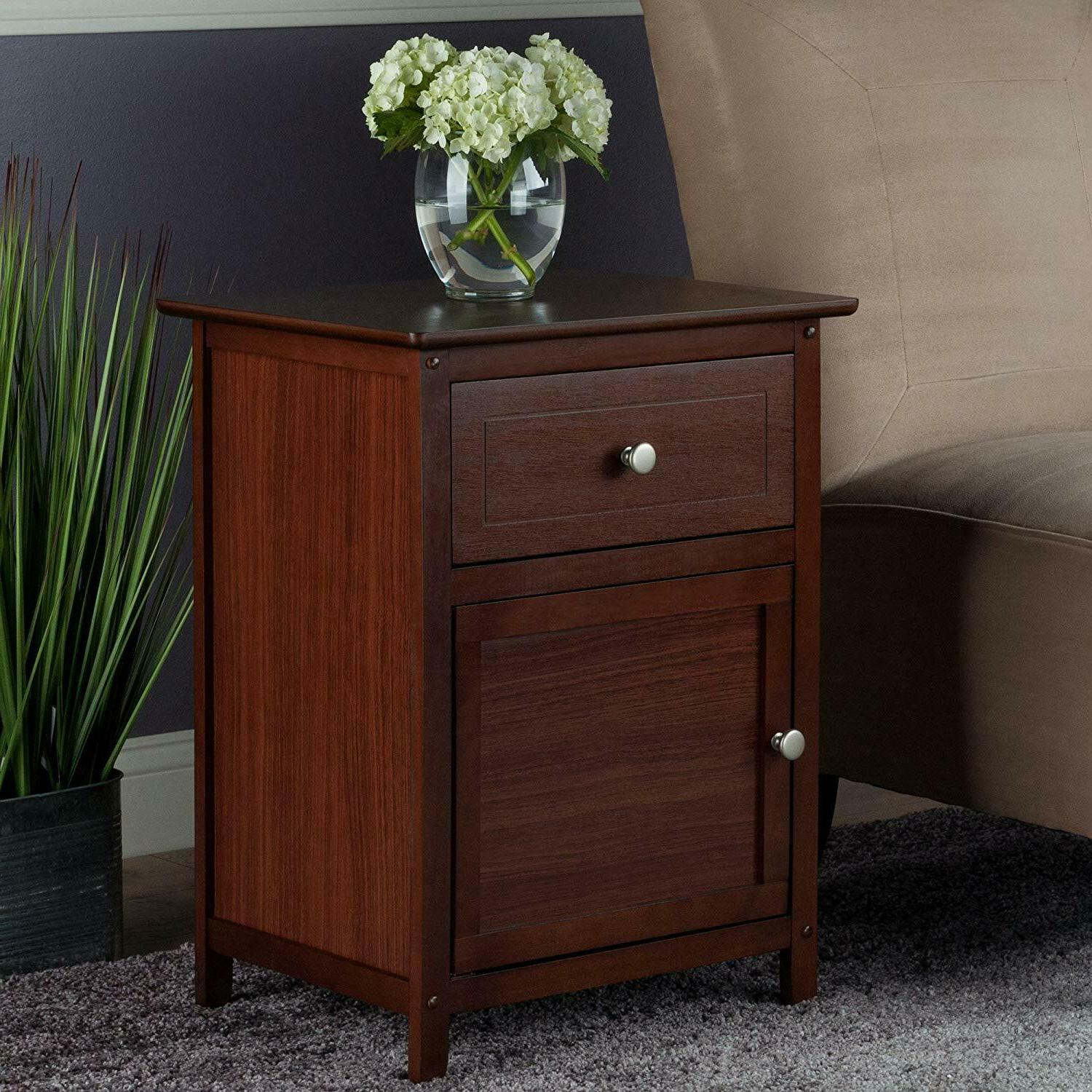 storage drawer end accent lamp table walnut
