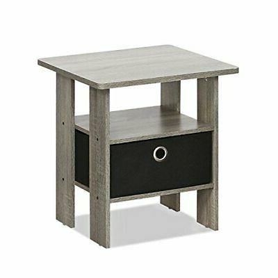 FURINNO End Table Bedroom Night Stand W/Bin Drawer, French O