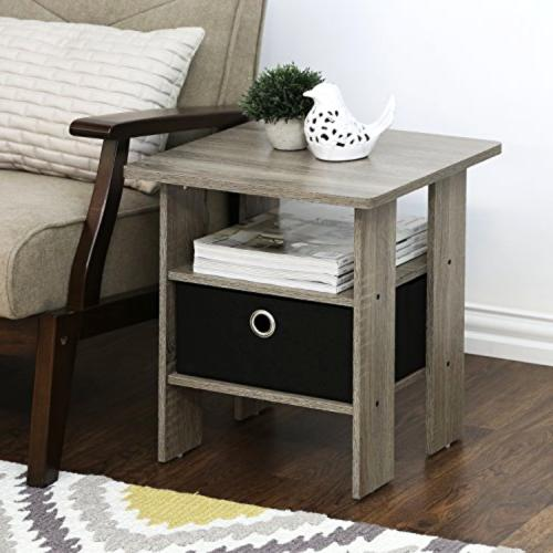 FURINNO End Night Stand French Grey/ Small