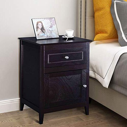 Giantex Wooden W/Shelf, 2-Tier Side W/Storage Bedside for Bedroom, Material Nightstand