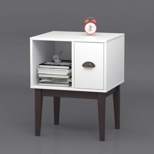 White Espresso Nightstand Side Table Drawer