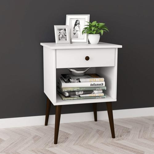 White / Espresso Nightstand Side End Table Open Storage with