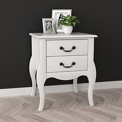 White Nightstand Side with Two Drawers