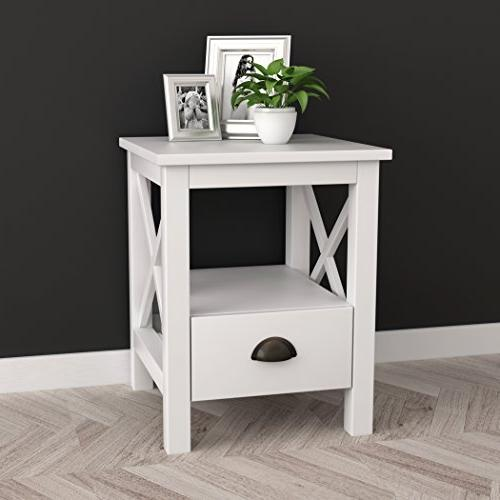 white finish nightstand side table
