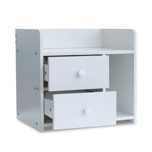 White Modern Night Stand 2 Bedside End Table