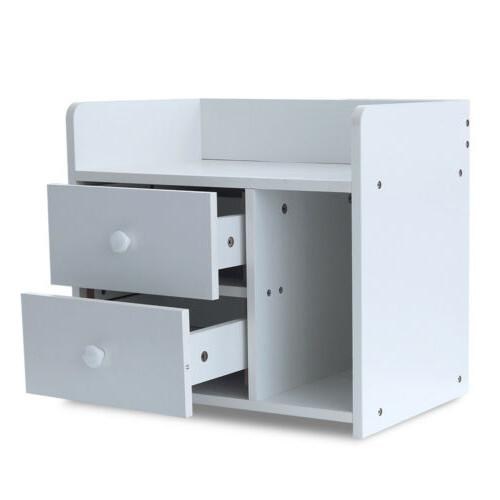 White Night 2 Drawers End Table