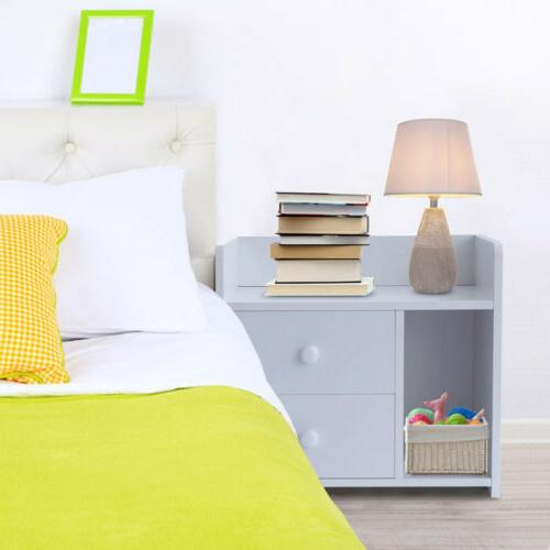 White Night Stand 2 Bedside Table Organizer