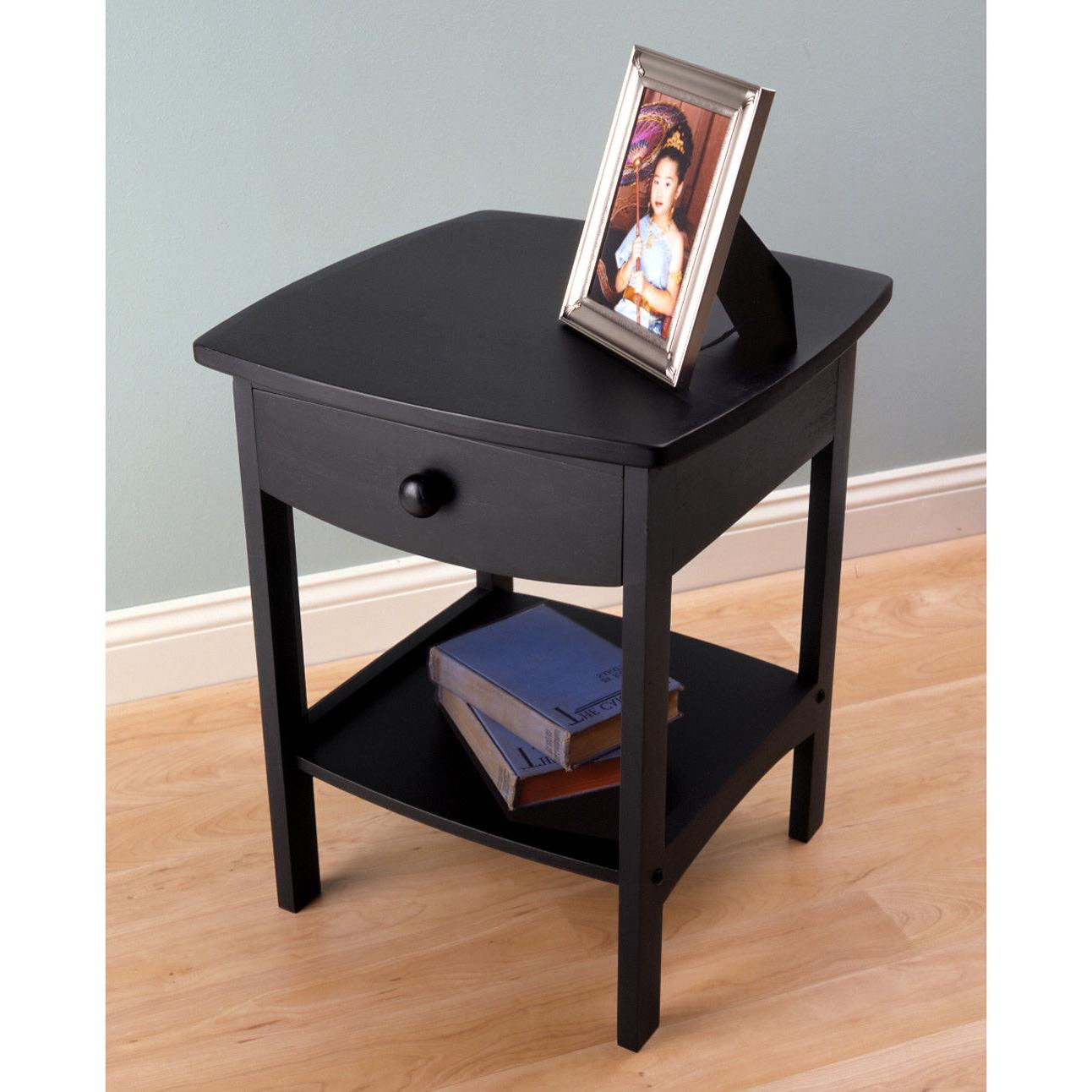 beech wood curved 1 drawer nightstand end
