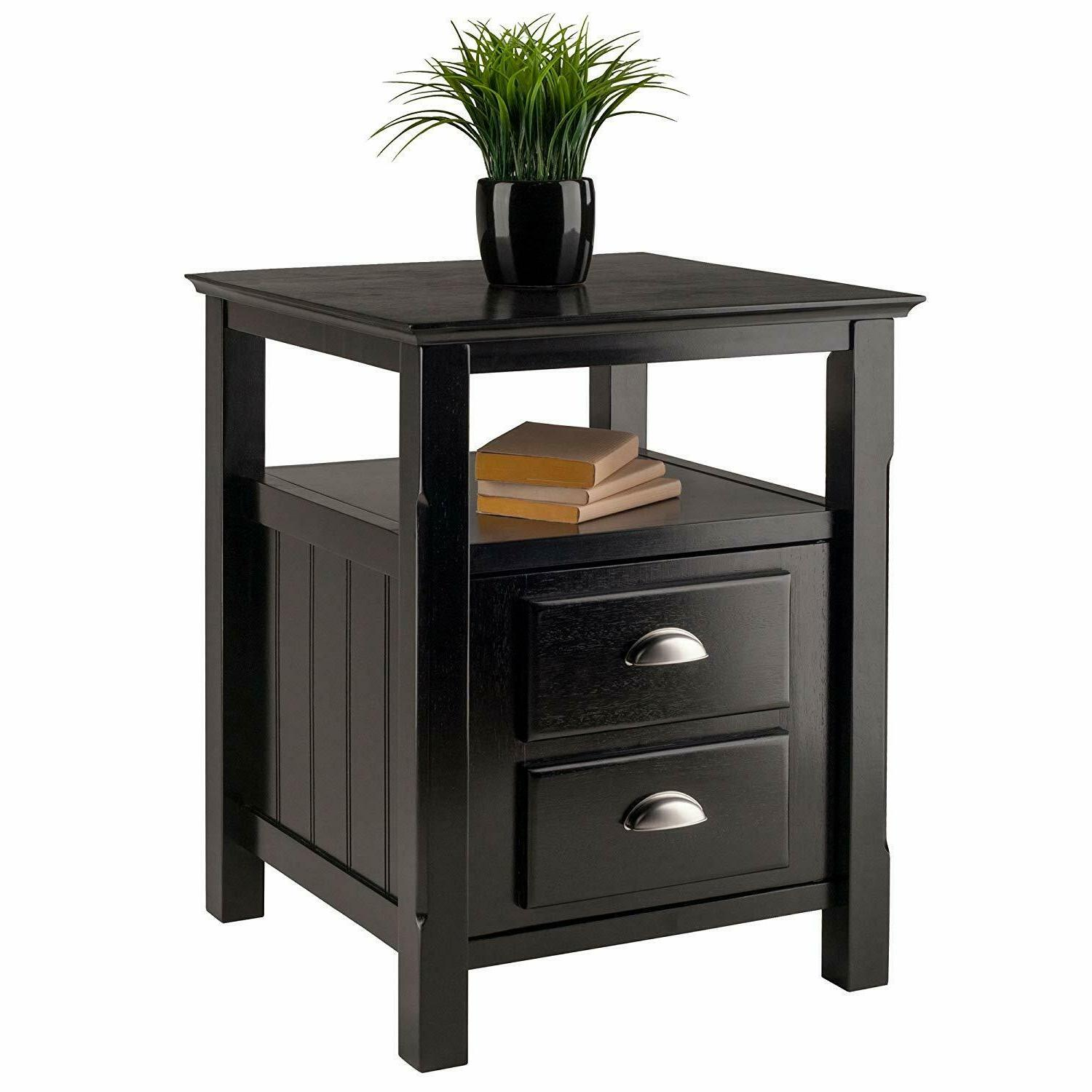 Winsome Solid Wood 2 Drawer Night Black Finish