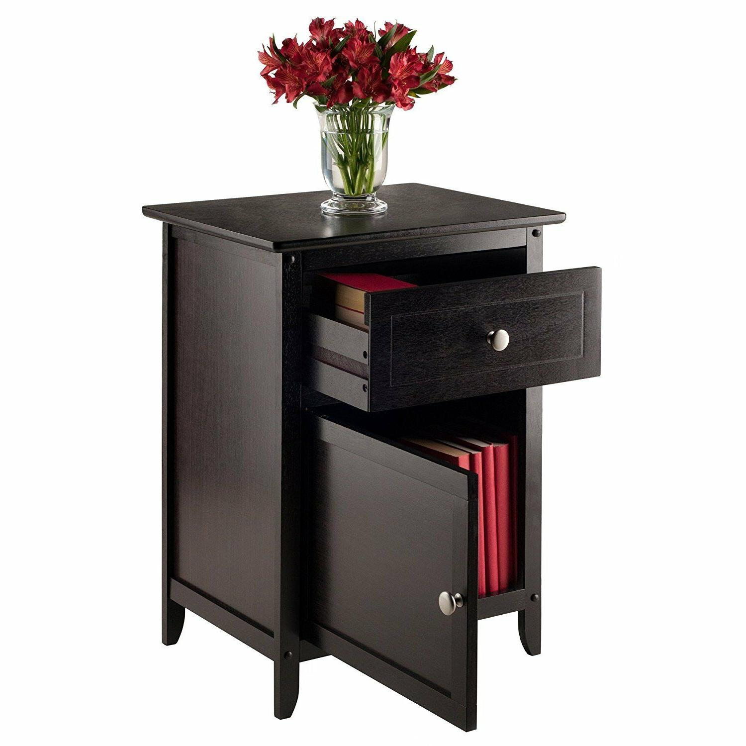 Wooden Night Table Wood Accent Side Home