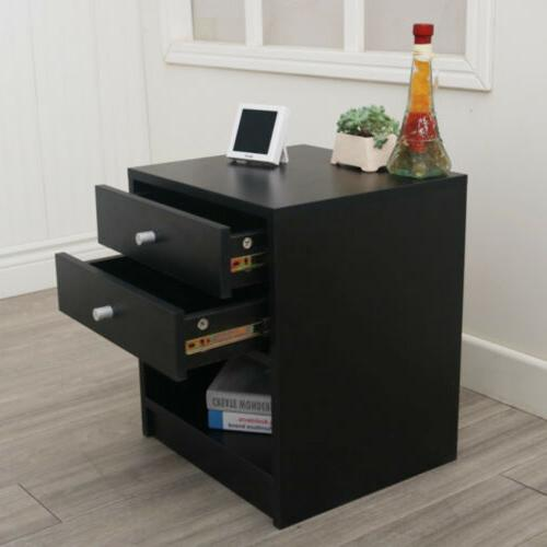 Black Round Handle Night Stand with Two Drawer Black Easy-to