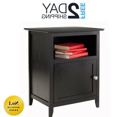 wood end table night stand with door