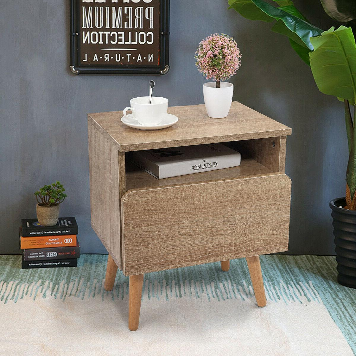 Wood End Side Table Drawer