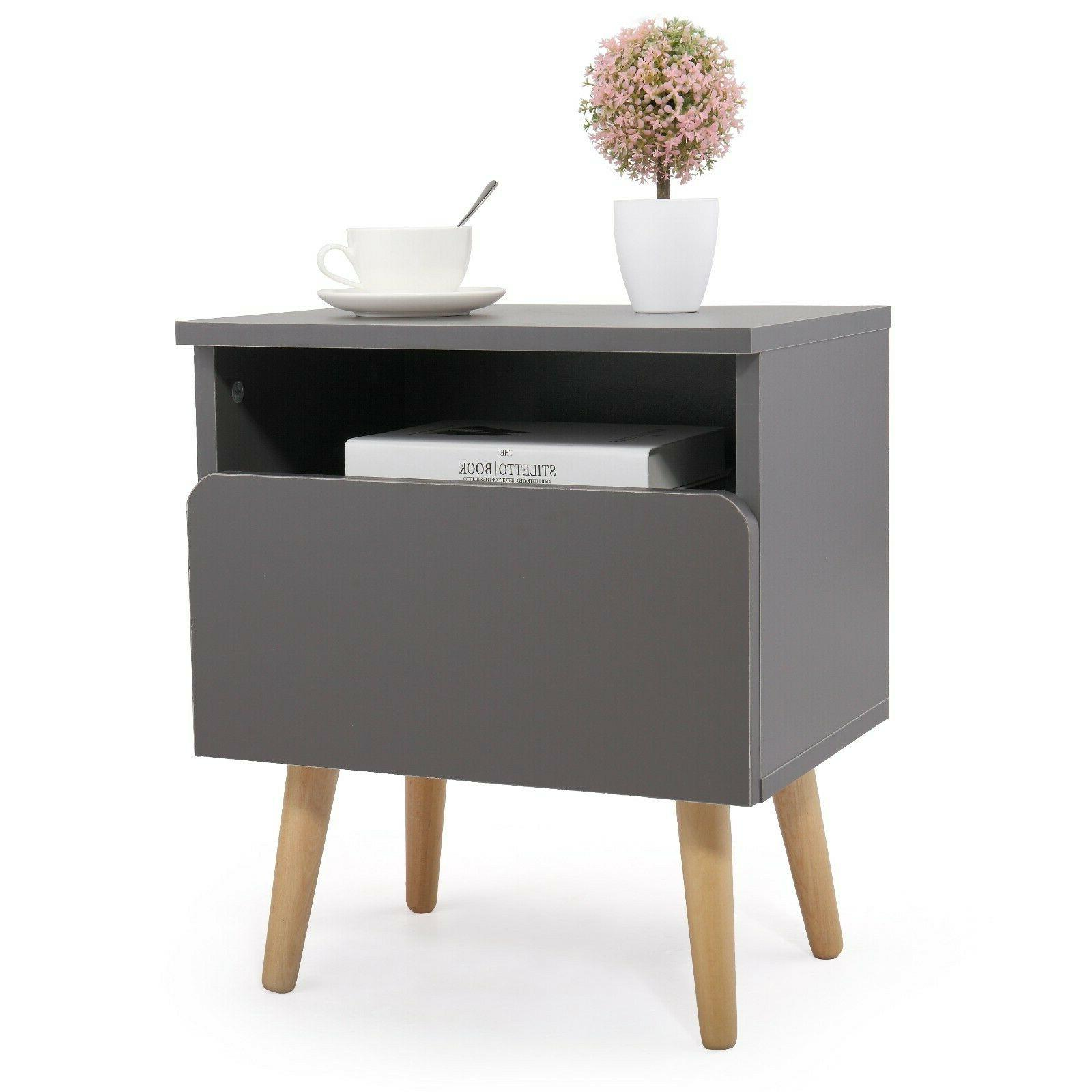 Wood End Drawer Stand Storage