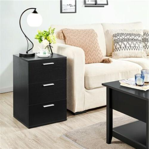 Wooden End Side Bedside Table Accent Nightstand Bedroom w/3