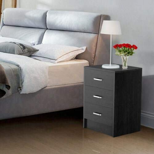Wooden Side Table Accent Bedroom w/ 3 Drawers