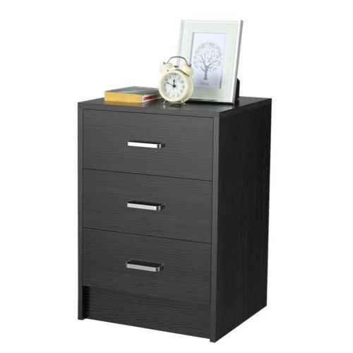 Wooden End Table Nightstand w/ 3 Drawers