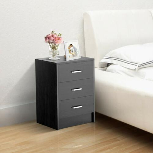 Wooden End Bedside Table Accent Nightstand w/ 3