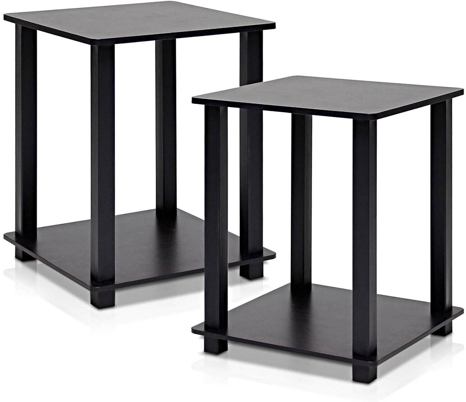 Wooden Table of 2 Stand Bedroom Living Espresso Black