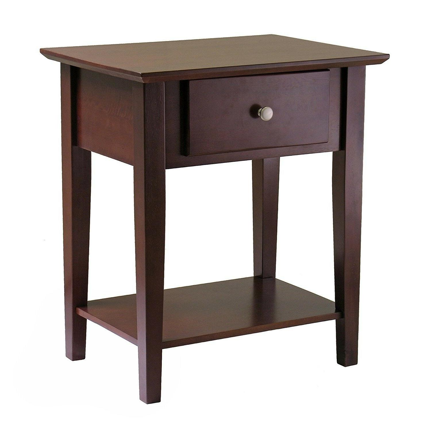 Wooden Shaker Night End Table with Antique Walnut