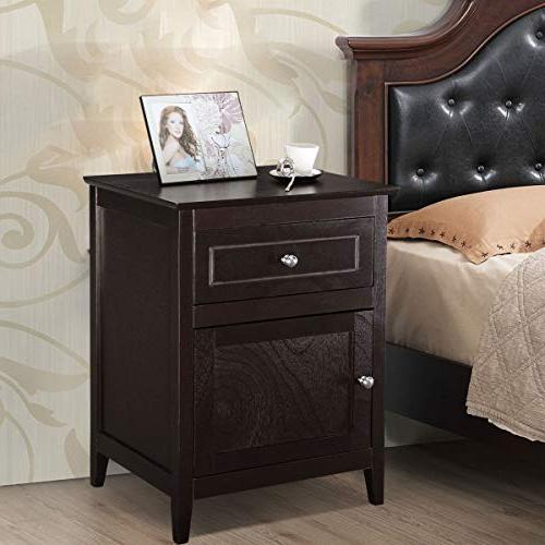 Giantex Wooden W/Storage for Living Room, Solid Eco-Friendly Material Espresso Nightstand