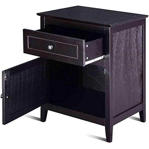 Giantex End W/Shelf, 2-Tier W/Storage Bedside for Solid Sturcture Material Espresso Nightstand