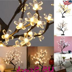 LED Branch Optic Fiber Flower Tree Lamp Table Stand Night Li