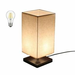 LED Fabric Bedside Table Nightstand  Lamp Square Minimalist