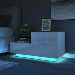 LED Modern Nightstand High Gloss with 2 Drawers Bedside End