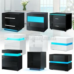 LED Nightstand with 2 Glossy Drawer Modern Bedside End Table