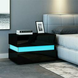 Modern Nightstand LED  High Gloss with Drawers Bedside Table
