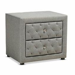 Baxton Studio Lepine Gray 2-Drawer Wood Nightstand