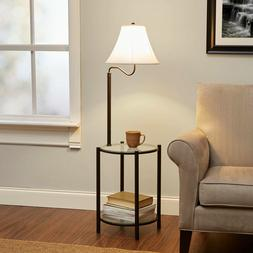 Round End Table with Lamp Shade Light Fixture Glass Top Smal