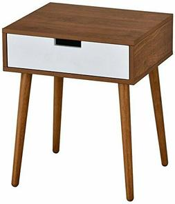 Light Walnut/White Side End Table Nighstand with Drawer 22.5