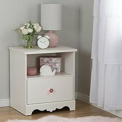 South Shore Lily Rose 1-Drawer Nightstand, White Wash New