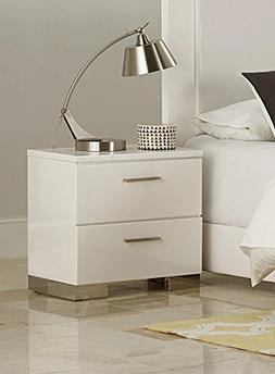 Lisle 2 Drawer Nightstand in White High Gloss Lacquer