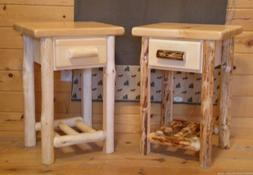 Log end table/ night stand Space Saver Top Quality!!  Rustic