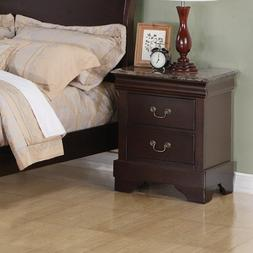 Louis Philippe 2 Drawer Night Stand with Imitation Marble To