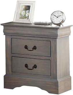 Acme Furniture Louis Philippe III Nightstand In Antique Gray