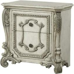 Luxury Night Stand Antique White Carved Wood 27183 Braylee A