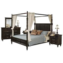 Marseille 5 Piece Canopy Queen Bed, 2 Nightstand, Dresser &