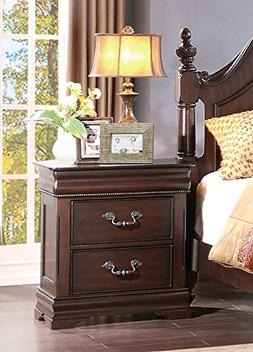HEFX Furniture Martel 2 Drawer Nightstand in Dark Cherry Fin