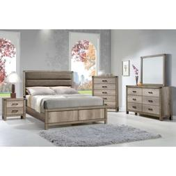 Crown Mark Matteo Natural Grey Finish Solid Wood Queen Size