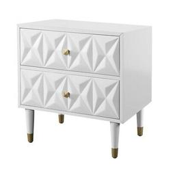 Linon Mdf And Solid Wood Night Stand With White And Gold Fin