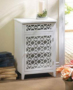 MEADOW LANE CABINET WHITE WOOD TWO SHELVES AND PULLOUT DRAWE